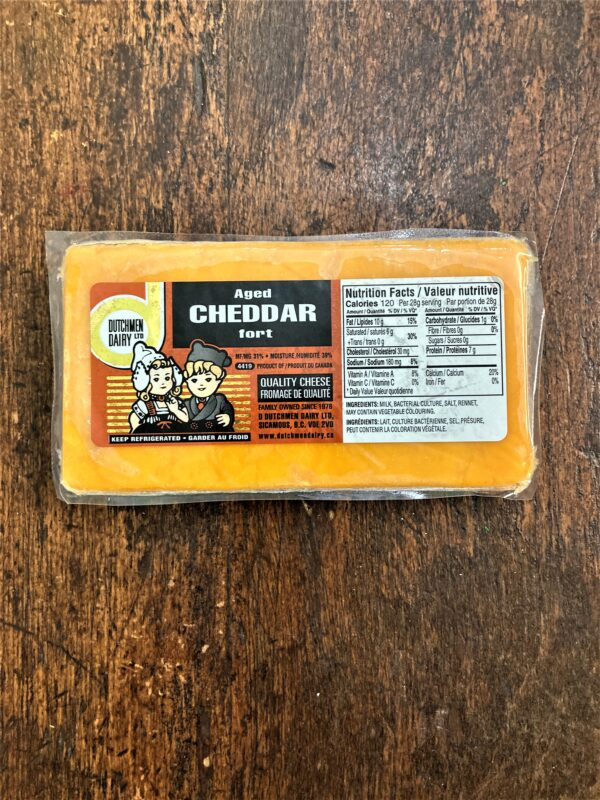 aged cheddar fort cheese, D Dutchmen Dairy, Sicamous BC