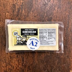 Mild white cheddar cheese, made with A2 milk, D Dutchmen Dairy, Sicamous BC