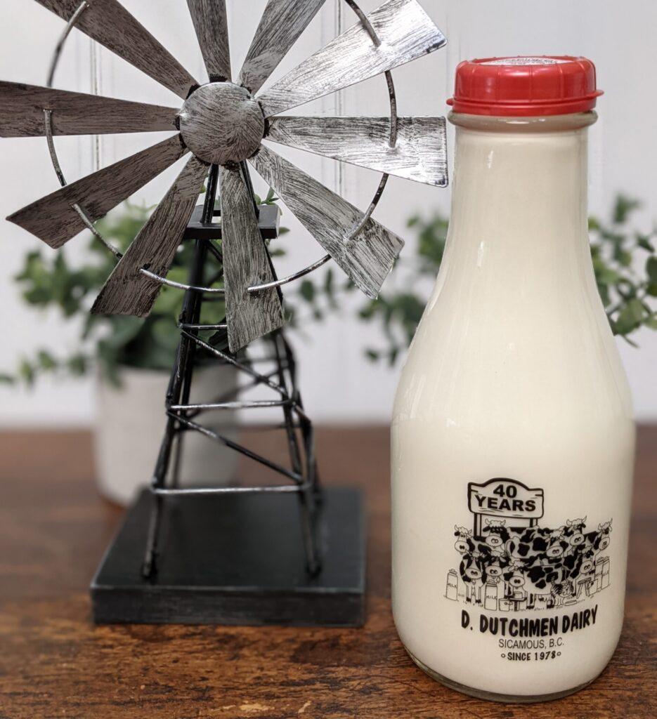 bottle of milk, D Dutchmen Dairy, Sicamous BC